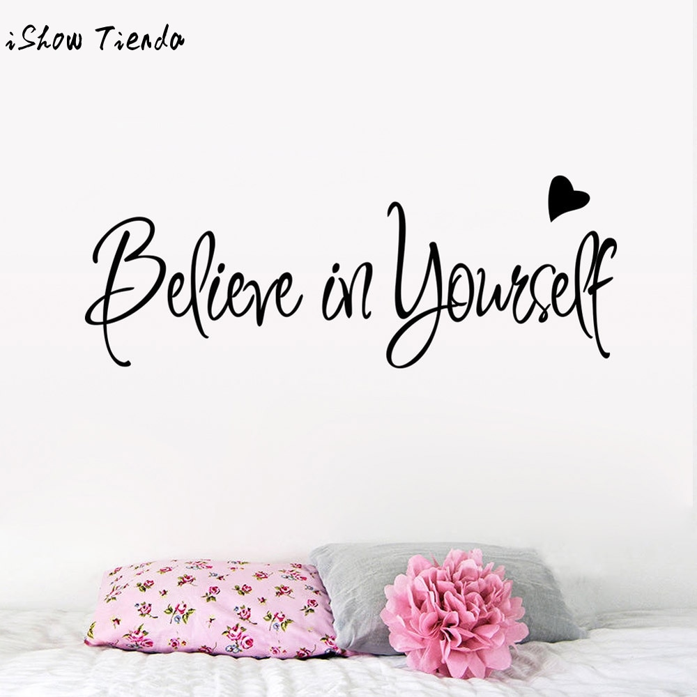 Adhesivos de pared Believe In Yourself adhesivos para salón texto inspiracional dormitorio pegatinas de pared para sala de estar