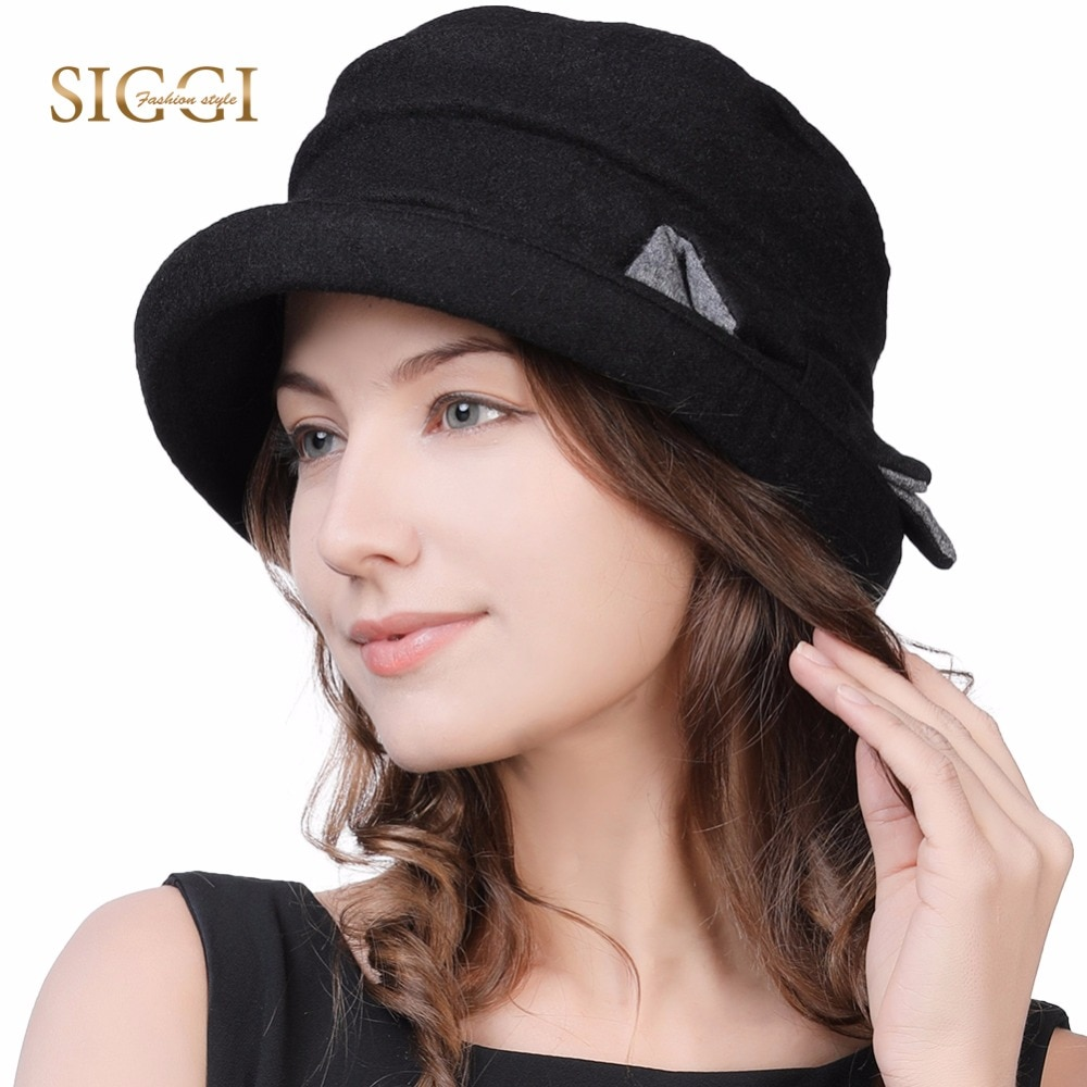 FANCET-Cloche en laine pour femmes   Chapeaux ronds pour hiver chauds 1920s Vintage Fedora seau Bowler chapeaux ajustables Trilby Gorro 89369