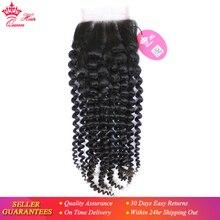 Queen Hair-produits capillaires brésiliens   Cheveux vierges, cheveux humains crépus bouclés, couleur naturelle, Style Lace Closure, 4