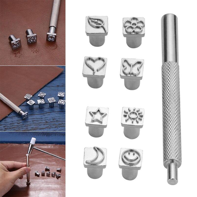 8 Uds diseño de Metal sellos juego de punzonado herramientas de perforación hechas a mano para artesanía de cuero DIY XHC88