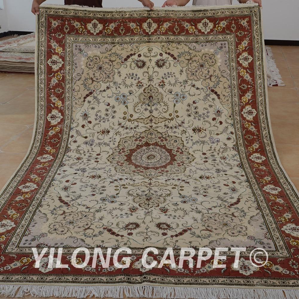 ييلونج 6 'x 9 'سجادة حرير من الصوف الشرقي سجادة بيج سميكة مصنوعة يدوياً رائعة سجاد صوف صيني فاخر (1422)