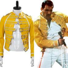 Koningin Lood Zang Freddie Mercury Cosplay Kostuum Kwik Jacekt Gele Jas Mannen Pak Halloween Carnaval Kostuum Custom Made