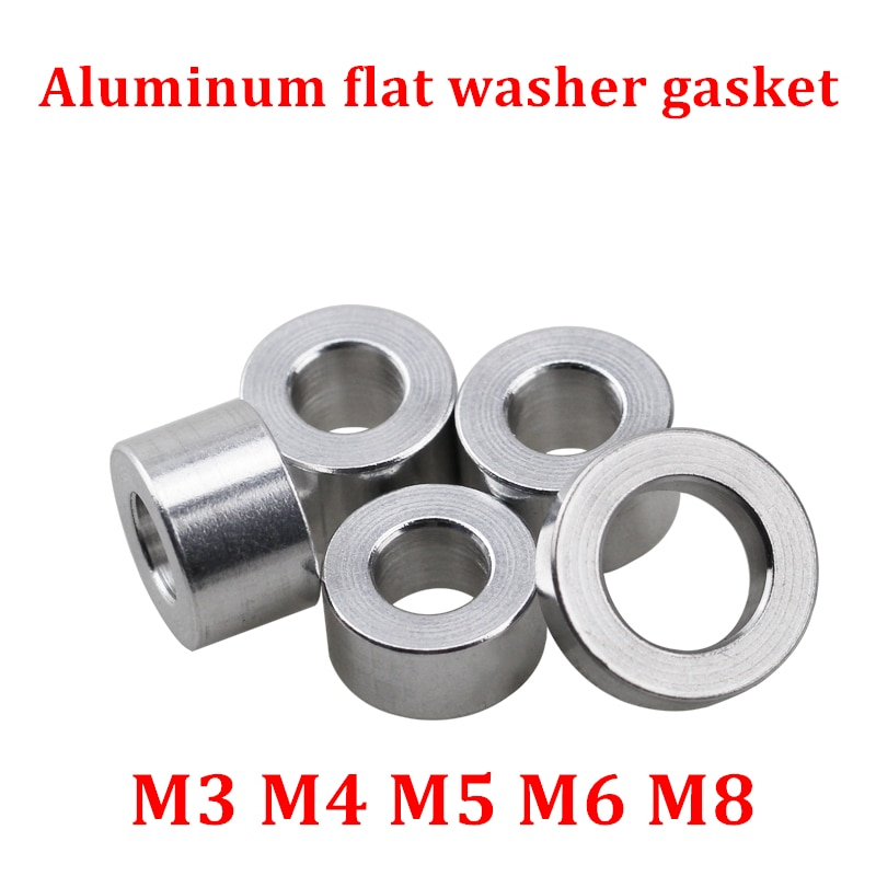 20 piezas 10 Uds arandela plana de aluminio M3 M4 M5 M6 M8 arandela espaciadora de aluminio sin rosca CNC manguitos redondos para modelo RC