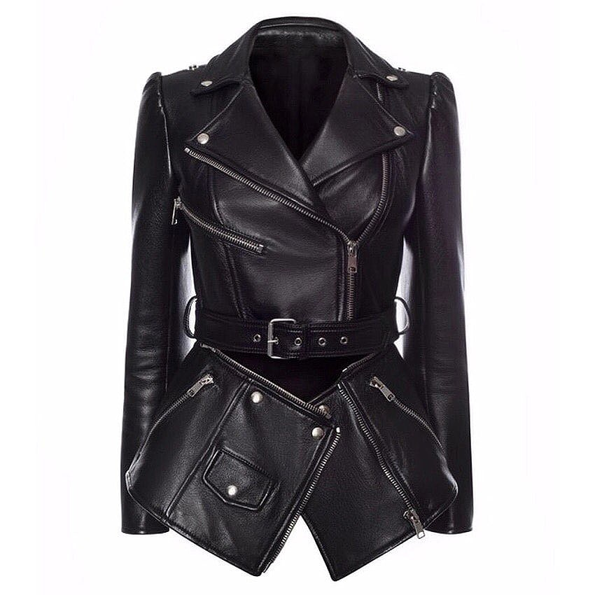 Alta qualidade mais recente moda runway 2020 designer jaqueta feminina mais baixa borda destacável zíperes casaco de couro do falso