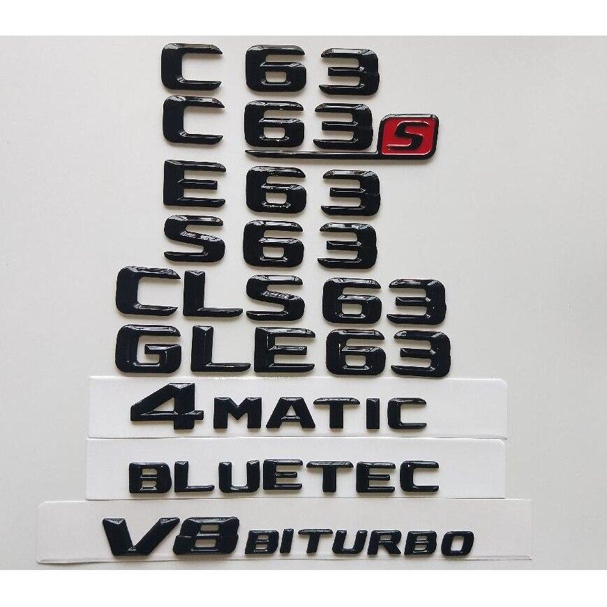 Brillo negro 3D emblemas para Mercedes Benz W204 W205 Coupe C63 W212...