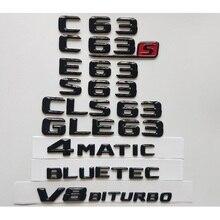 Gloss Black 3D Emblems for Mercedes Benz W204 W205 Coupe C63 W212 W213 E63 W222 S63 CLS63 GLC63 GLE63 AMG 4MATIC V8 BITURBO