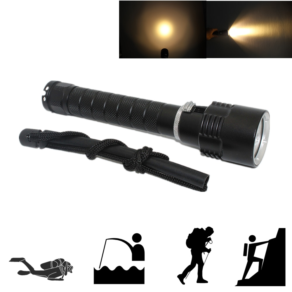 Tactical Flashlight 3000Lm Powerful Waterproof Underwater Dive LED Diving Flashlight Torch Lamp Yellow Light waterproof 14led portable diving light torch underwater led photography video dive flashlight lamp