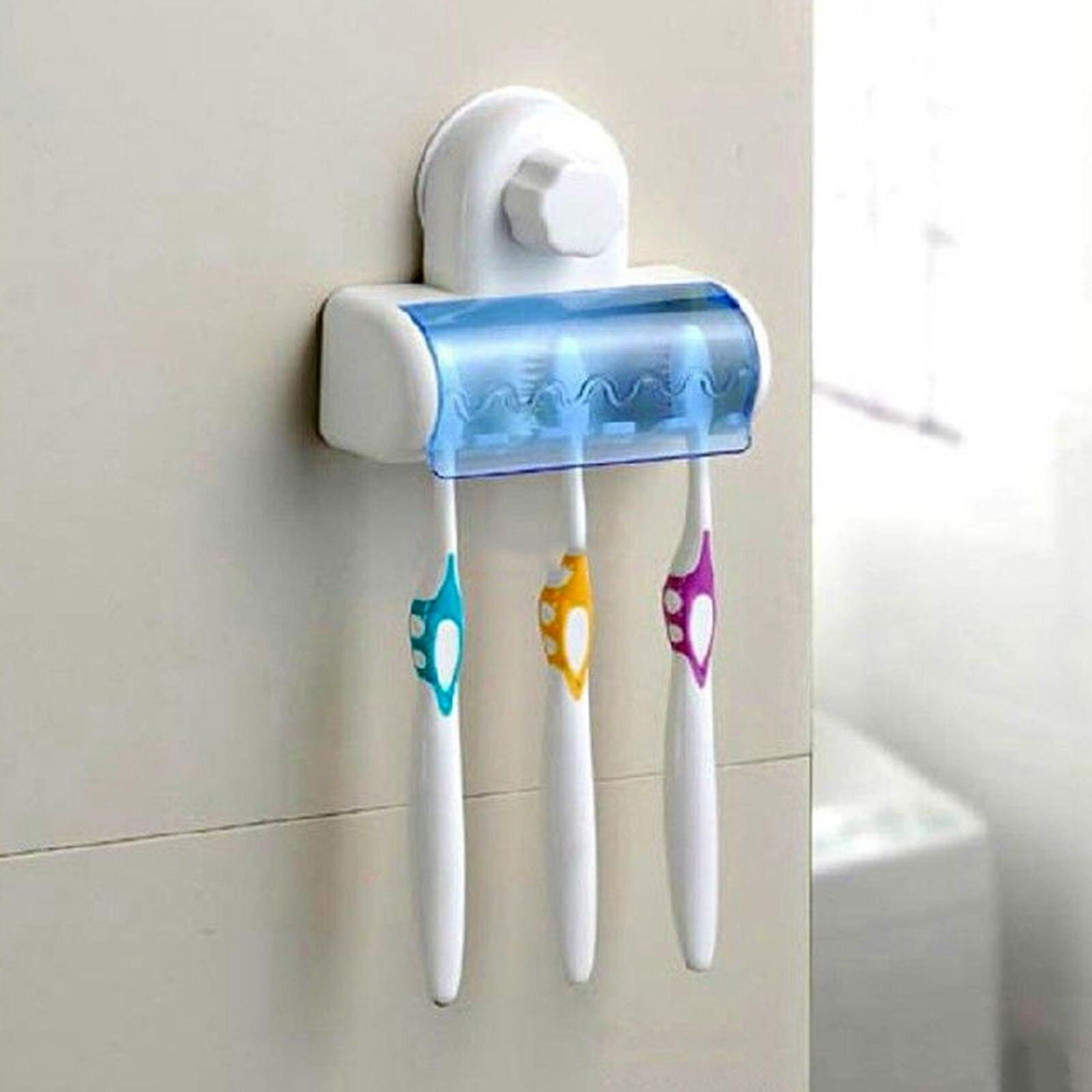 Multifunctional Bathroom Suction Cup Toothbrush SpinBrush Hanging Holder Stand Lidded 5 Racks toothbrush