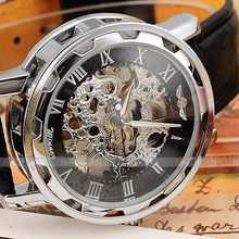 Новинка 2016, лидер продаж, модные Механические Мужские Роскошные деловые наручные часы-скелетоны с кожаным ремешком