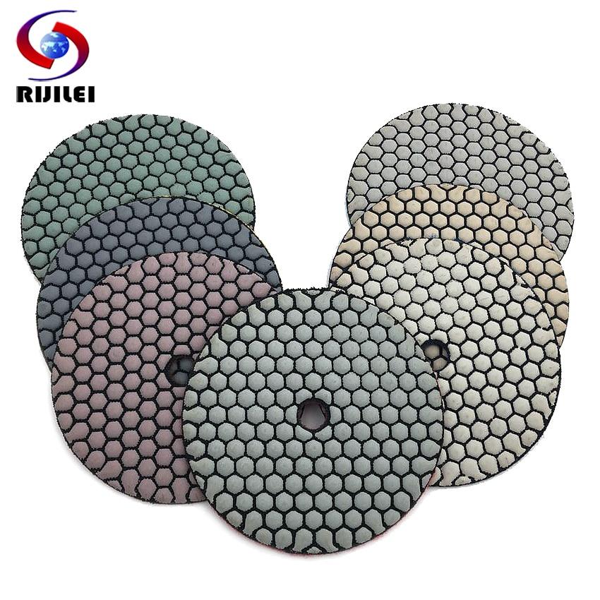 RIJILEI 10 unids/set 5 pulgadas seco almohadilla de pulido 125mm resina de diamante disco granito mármol herramienta de pulido abrasivo HC04