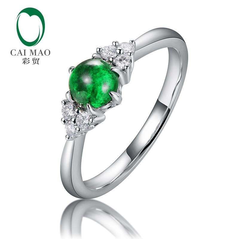 Caimao 0.53ct Natural cabujón redondo Esmeralda 14kt oro Anillo de compromiso de diamante de corte completo para mujeres exquisita
