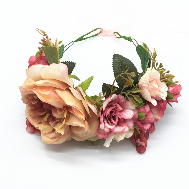Corona de flores de lujo Boda nupcial Flor del pelo corona de fiesta Floral guirnalda accesorio pelo dama de honor tocado diademas