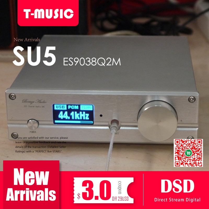 TOP ES9038 Q2M DAC Decoder With XMOS XU208 USB Bluetooth 5.0 TPA6120 Headphone Amplier Support 32Bit