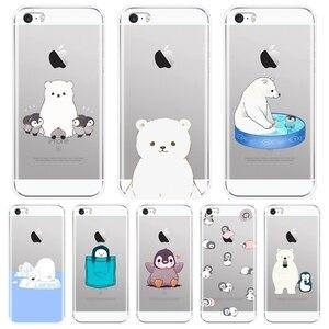 Задняя крышка для Apple iPhone 5 S 5C 5S SE Bear Penguin Kawaii милый забавный Мягкий силиконовый чехол для iPhone 4 S 4S