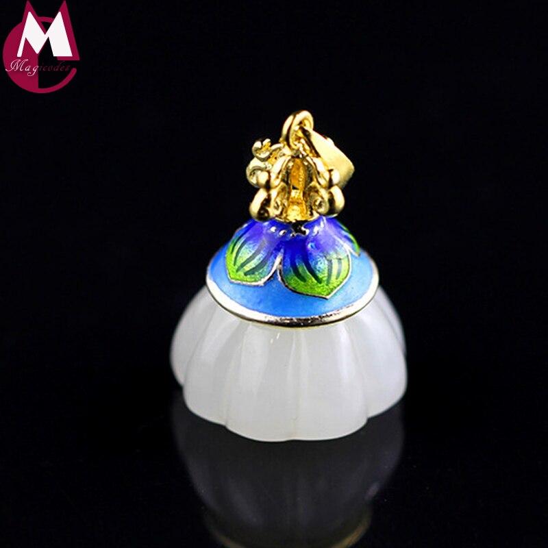 Diseño Original Jade Lotus Seedpod colgante plata 925 joyería Natural gema piedra pendiente collar hecho a mano planta de esmalte fino SP40