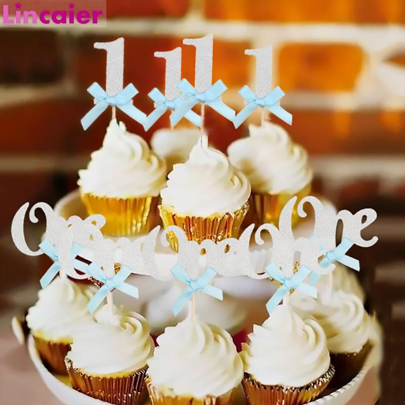 Feliz Aniversário Decoração De Papel Glitter 1 bolo Topper 1st Primeiro Aniversário Do Partido Dos Miúdos Do Bebê Da Menina do Menino O Meu Um Ano de Aniversário suprimentos