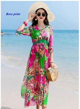 Lady pure silk V-neck three quarter sleeve summer dress,100% silk high waist-line big bottom elegant dresses women