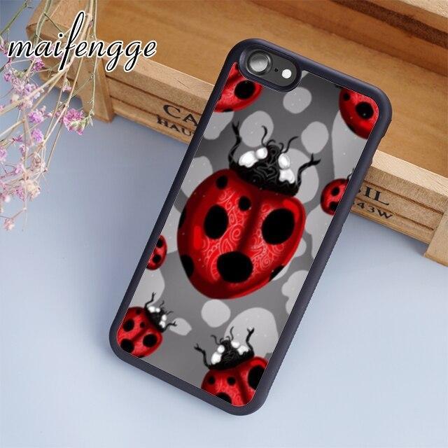 Maifengge Ladybird mariquita lindo punto de punto teléfono caso para iPhone 11 Pro X XR XS MAX 5 5 5 6 6 7 8 Plus samsung s7 s8 s9 s10
