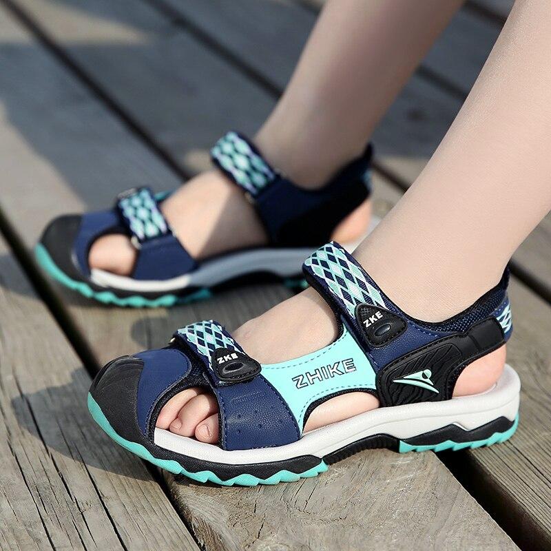 ULKNN Jungen Baotou Sandalen Sommer Neue kinder Wilde Flut Schuhe Großer Junge Student Junge Nicht-slip Weichen Boden sandalen kinder blau schuhe