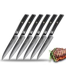 SUNNECKO 6pcs Damascus Steel Steak Knife Set Gift Box Japanese VG10 Core Blade G10 Handle Chefs Meat Dinner Kitchen Knives Sets