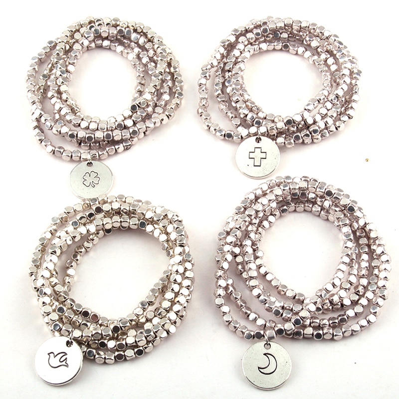 Free Shipping Fashion Metal Square Beads Wrap Bracelet 5 Row Bead Bracelets