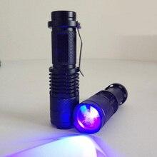 Nowa Zoomable Led mini latarka UV latarka ultrafioletowy światło Blacklight lampa UV AA bateria do wykrywania znaczników