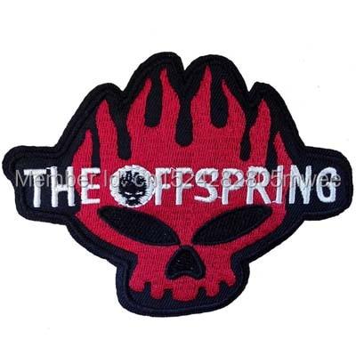 Parche bordado con logo de calavera de the offspring, insignia de tela bordada con logo de la famosa banda, parche de tela de jean con insignia musical DIY
