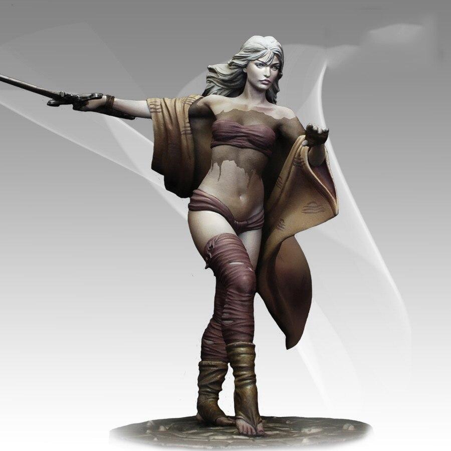 Conjunto sem pintura escala 1/24 78mm menina de cabelos longos guerreiro figura histórico modelo resina