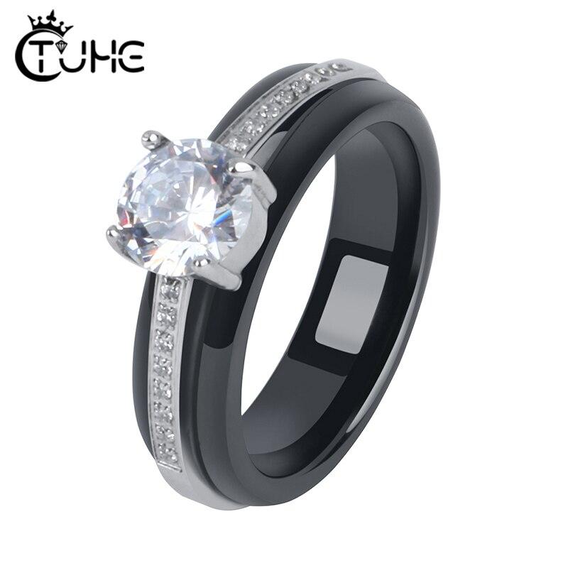 Anillos geométricos con diamantes de imitación de circonita cúbica para mujer, regalo de joyería de boda, joyería de cerámica saludable de 6mm de ancho, joyería de moda para regalo