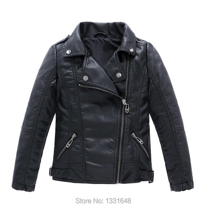 Nuevas chaquetas de la motocicleta de los niños del otoño del resorte chaquetas gruesas de la PU de cuero de las muchachas de los muchachos ropa de abrigo de moda niños abrigos infantiles 3-14T