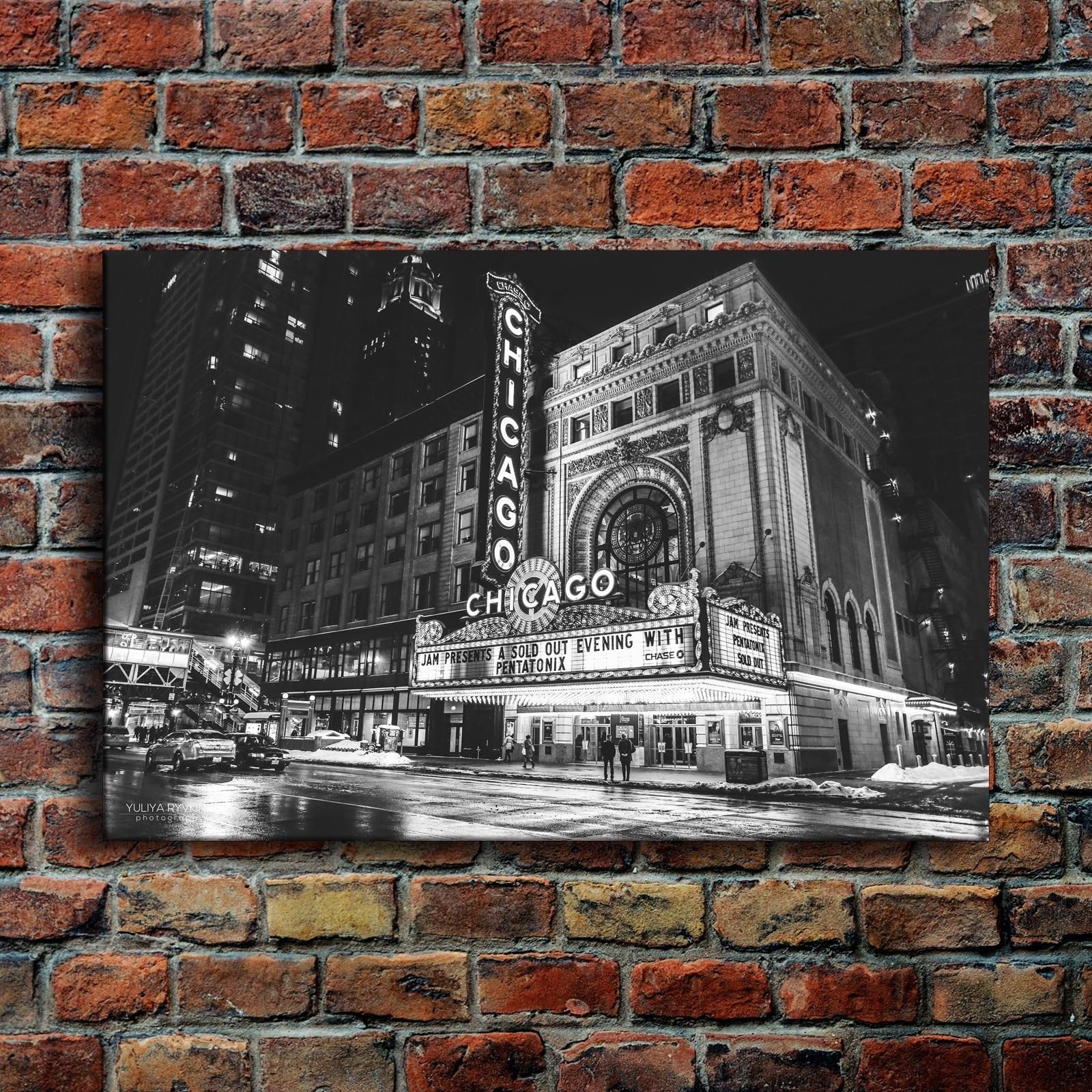 Lienzo pintura Oficina pared arte marco 1 pieza negro y blanco ciudad Retro imágenes impresiones habitación Chicago teatro póster hogar decoración