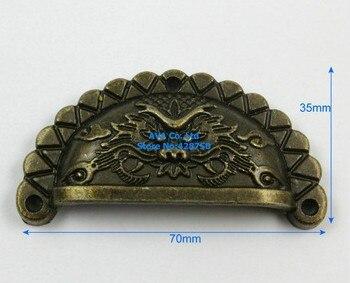 10 unids/lote 10 joyero de latón antiguo tirador de cajón de dragón tirador de armario 70*35mm
