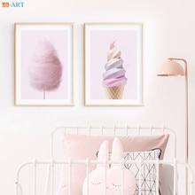 Eis Fee Zahnseide Baumwolle Candy Kinderzimmer Poster Rosa Wand Kunst Leinwand Malerei Mädchen Kindergarten Bilder Zimmer Decor Gerahmte