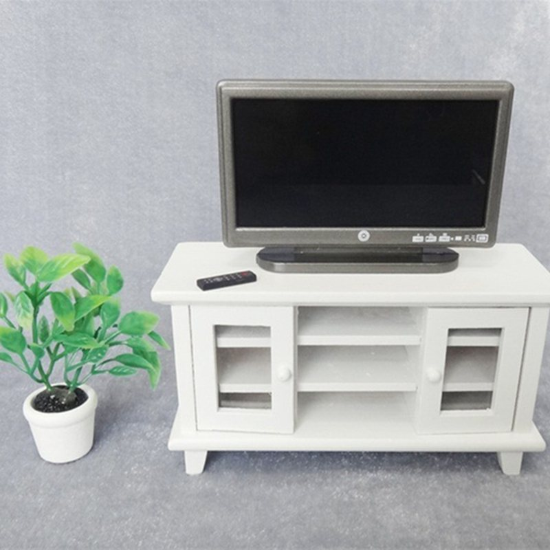 1:12 Dollhouse Miniature TV and Remote Cute mini Grey Flat-Panel LCD Television Living Room Furnitur
