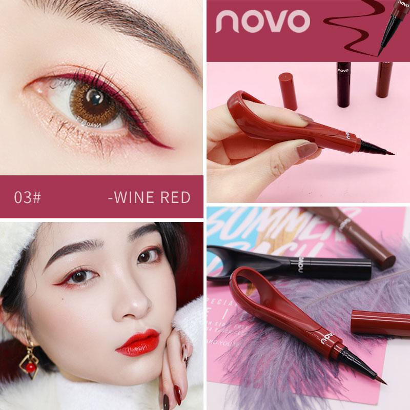 Подводка для глаз NOVO 3 вида цветов, Водостойкая Подводка для глаз черного, коричневого, винно-красного цвета, быстросохнущая подводка для глаз