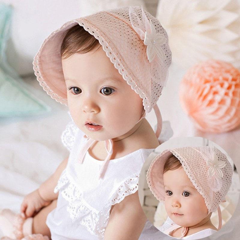 Весенне-летняя милая детская шляпа принцессы с бантом, однотонная кружевная ажурная Кепка для маленьких девочек, Пляжная Панама для маленьких детей, шляпа от солнца для девочек