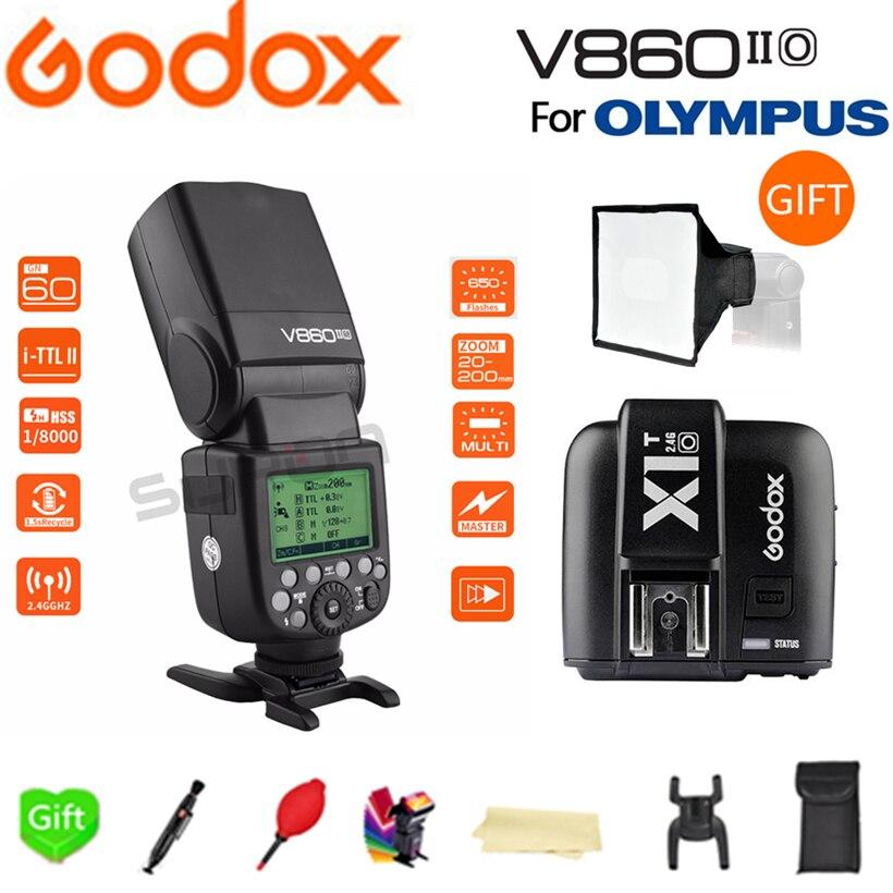 Paypal Accpect, Godox V860II-O Flash GN60 HSS TTL литий-ионный аккумулятор V860II Вспышка Speedlite + X1T-O триггер для камеры Olympus