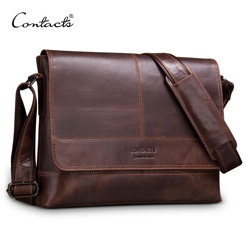 CONTACT'S genuine leather men shoulder bag for laptop men's briefcase crossbody bag bolsos man messenger bags male bolso hombre