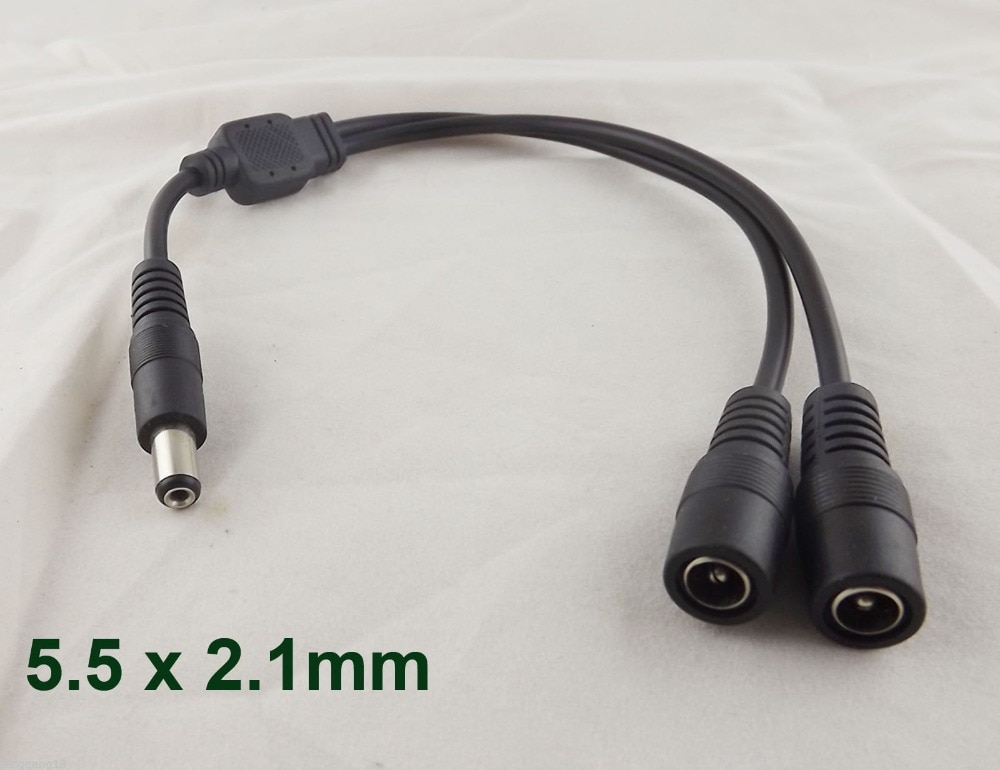 10pcs 3 5mm x 1 35mm female to dual male dc power splitter adapter cord cable for cctv 30cm 1pcs DC Power 1 Male Plug To 2 Female Jack Cable Splitter 5.5x 2.1mm Adapter For CCTV 30cm