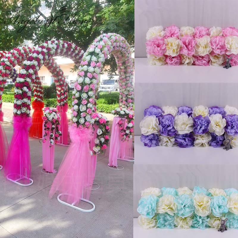 A buon mercato FAI DA TE arco di Nozze sfondo decorazione puntelli artificiale Dahlia fiori di seta del fiore della rosa disposizione di guida su strada fiore corridore 1pc