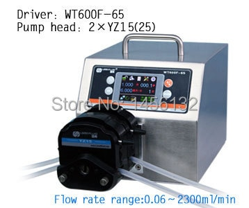 WT600F-65 2xYZ15 Big High Flow Industrial Lab Precise Intelligent Dispensing Peristaltic Dosing liquid Pump 0.06~2300 ml/min