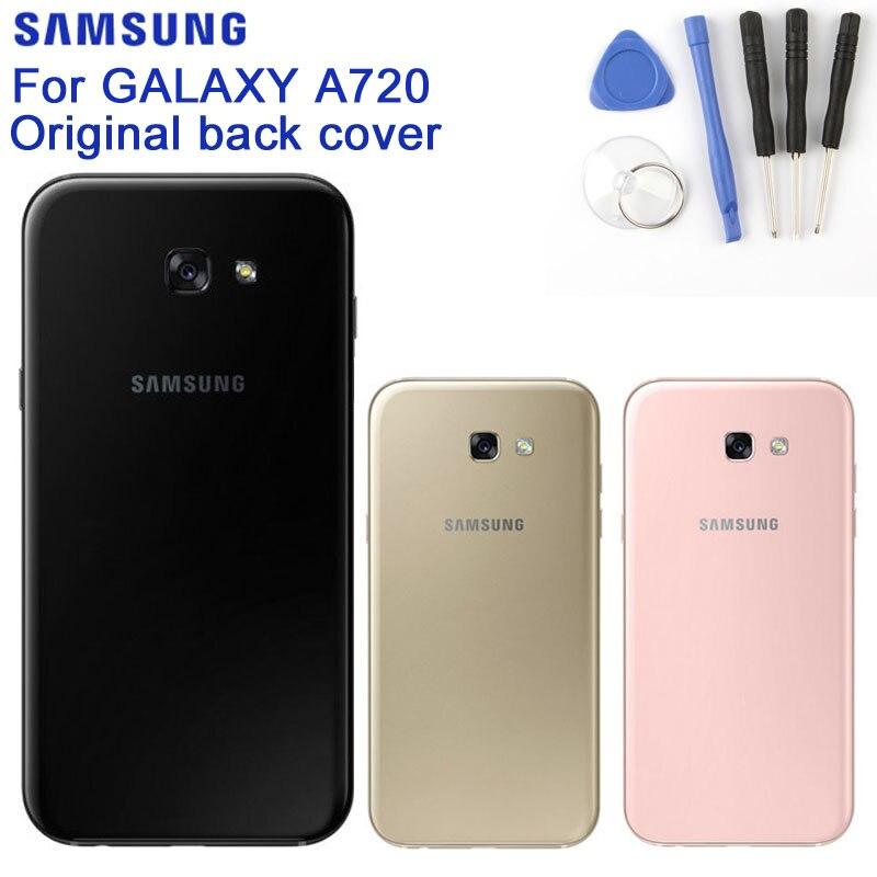 Carcasa trasera de cristal Original para teléfono SAMSUNG para el modelo samsung galaxy a7 edición 2017 A720 SM-A720 fundas traseras cubierta de batería