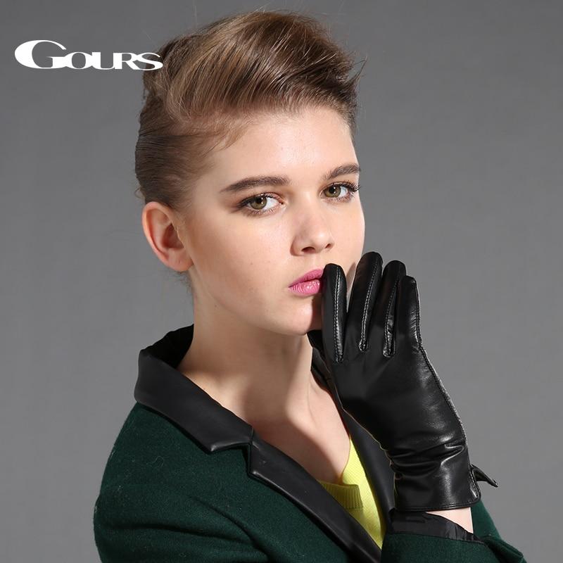 Gours Women's Genuine Leather Gloves Black Sheepskin Finger Touch Screen Gloves Winter Thick Warm Fashion Mittens New GSL087