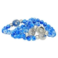 1pc snap bracelets royalblue acrylic beads stretch fit 5 5mm snap press buttons charms jewelry diy finding 21cm
