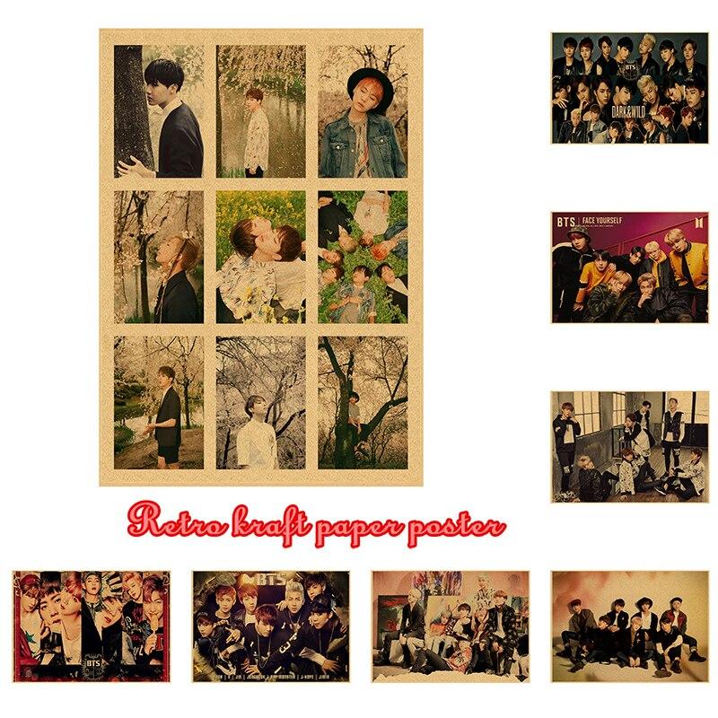 Kpop bangtan boys Vintage poster Wand Dekor Poster Aufkleber JUNG Rap Monster Tapete JIN Wand Aufkleber JIMIN SUGA J-HOPE Wandbild