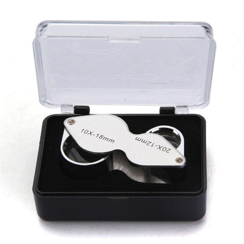 10X 20X Juwelier Lupe Lupe Dual Lupe mit Schutzhülle Kunststoff Fall für Inspektion Edelsteine Briefmarken Diamanten
