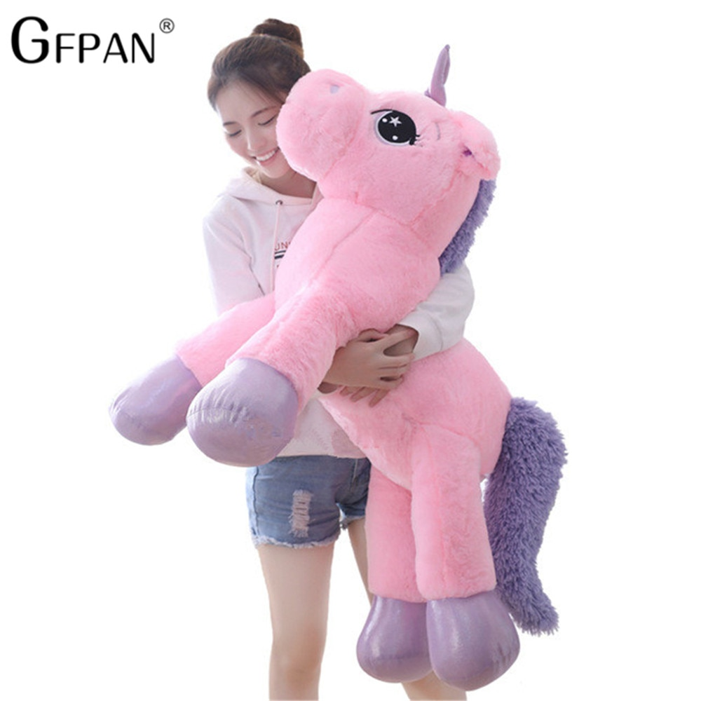 Giant Size 110/60cm Kawaii Unicorn Plush Toy Soft Stuffed Popular Cartoon Doll Animal Horse High Quality Toys For Children Girls