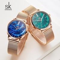 Shengke Women Watches Starry Blue Dial Ladies Wrist Watch Ultra-thin Stainless Steel Strap Quartz Watch Reloj Mujer Femme#k0103