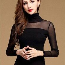 Blusa das mulheres camisa preto branco sexy longo casual manga comprida rendas blusas sob camisas blusas elásticas e blusas novas