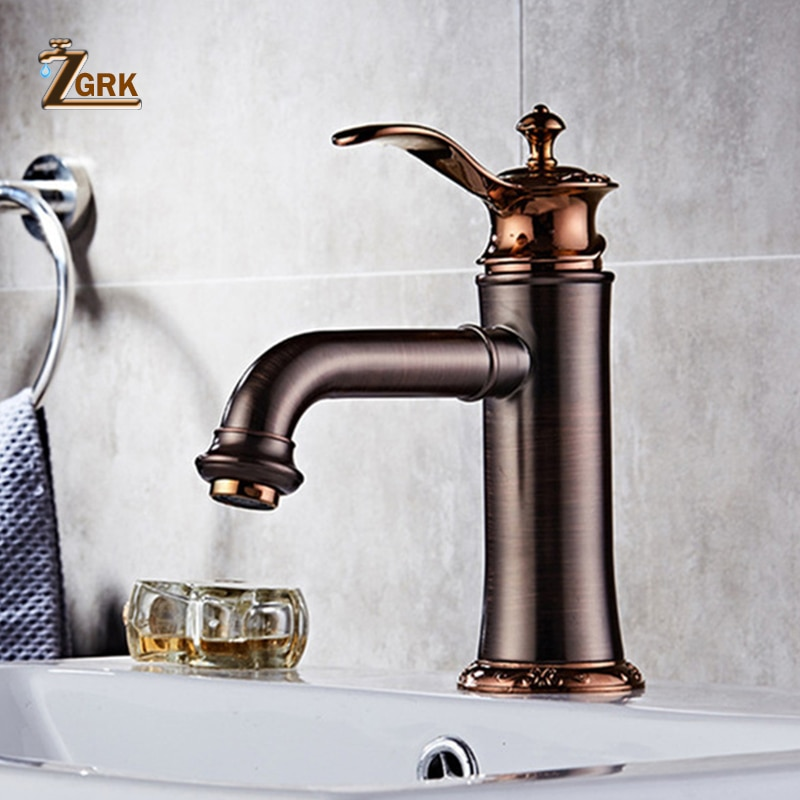ZGRK Bathroom Faucets Oil Rubbed Bronze Faucet Brass Bath Basin Mixer Tap Hot and Cold Water Sink Crane